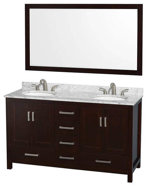 "Wyndham Sheffield 60"" Double Sink Espresso, White Carrera Marble, Oval Sink."