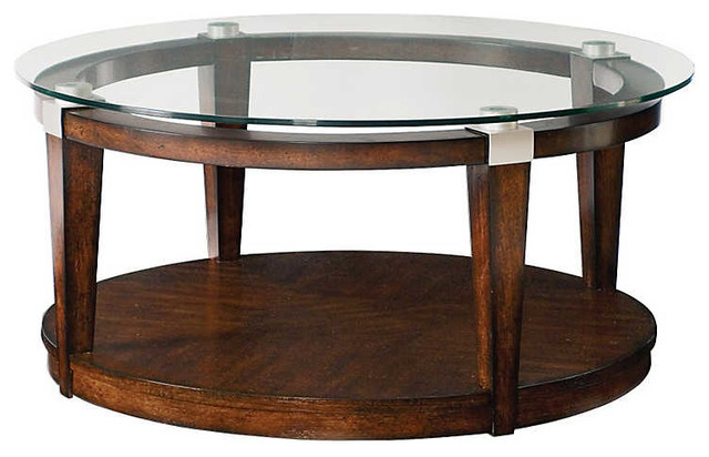 Solitaire Round Cocktail Table By Hammary, Rich Dark Brown.