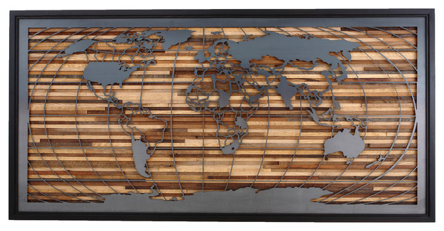 World map artwork made of old barnwood and natural steel large wall world map artwork made of old barnwood and natural steel large wall art 48x24 gumiabroncs Images