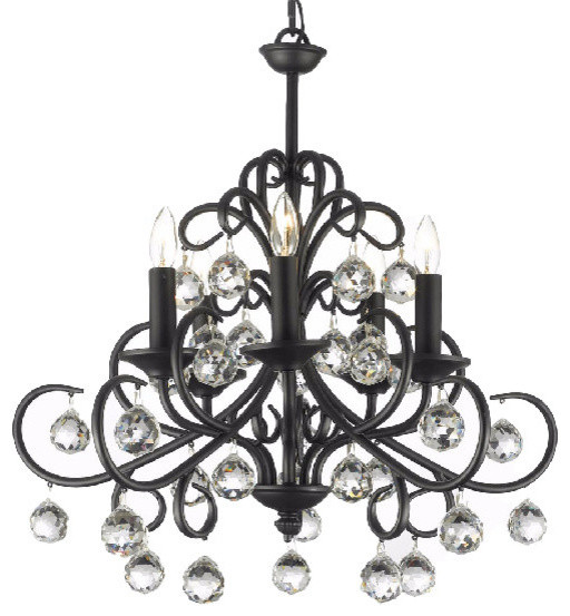 Versailles Wrought Iron and Crystal-Light Chandelier