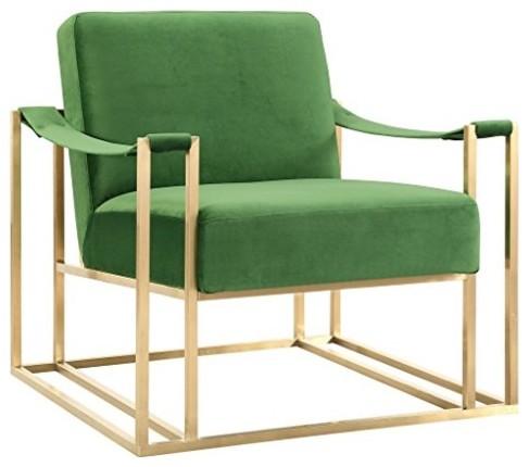 Etta Accent Chair, Green Velvet