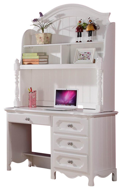 white desk with hutch. Plain White Homelegance Hayley 4 Drawer Kidsu0027 Desk With Hutch In White Inside With E