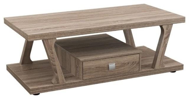 furniture of america naudine angular coffee table, light oak