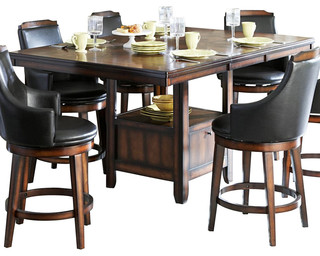 Homelegance bayshore extension counter height table with for Traditional dining table bases