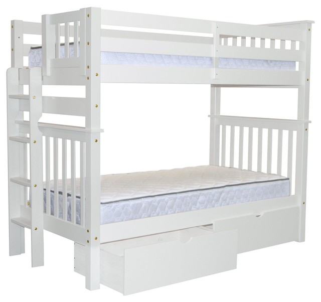 Bedz King Bunk Beds Tall Twin Over Twin, End Ladder and 2 Bed ...