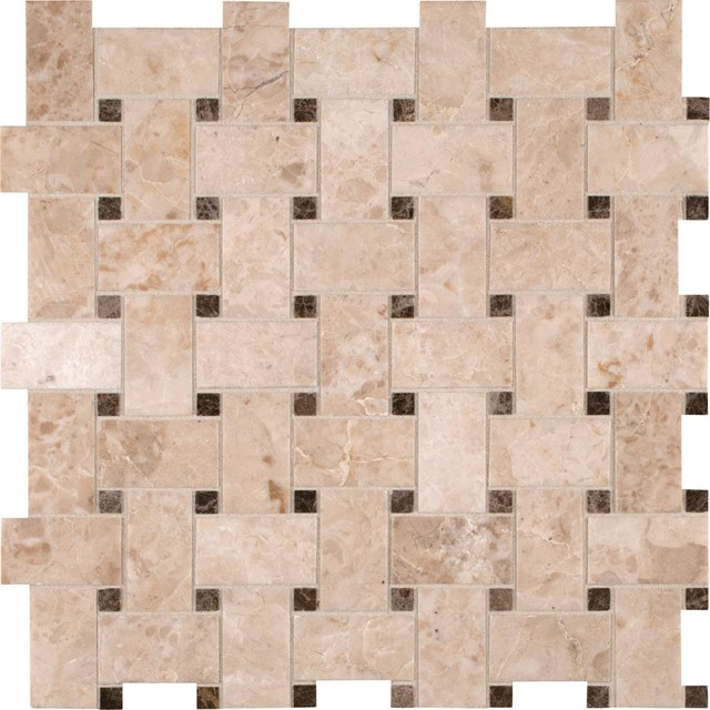 "Crema Cappuccino Basketweave Polished, 12""x12"", Set of 10"