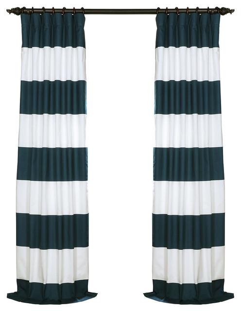 "Dusk Blue & Off-White Horizontal Stripe Cotton Curtain, 50""x108""."