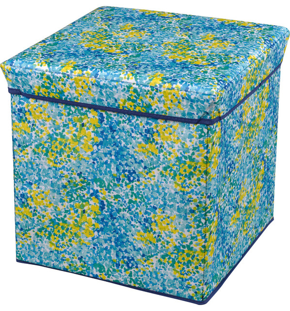 Storage Ottoman, Blue And Green.