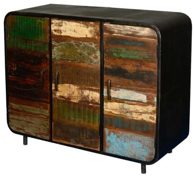 Retro Reclaimed Wood Iron 3 Door Sideboard Buffet