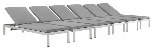 Modway Shore Aluminum Patio Chaise Lounges, Gray, Set Of 6.
