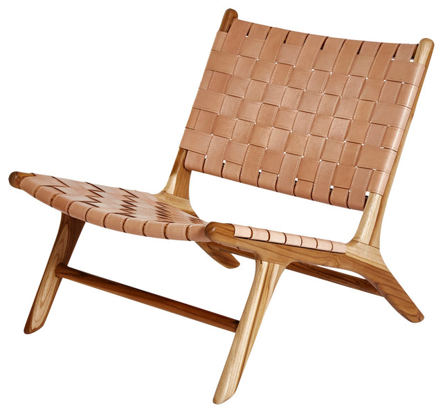 Leather Lounge Chair, Natural, Without Armrests