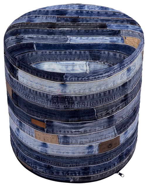"17"" Blue Jeans Repurposed Pouf."