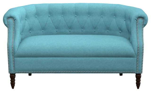 Monticello Linen Love Seat, Turquoise.