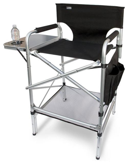 Earth Tall Directors Chair W/ Side Table, Dual Side Pockets U0026 Lower Shelf