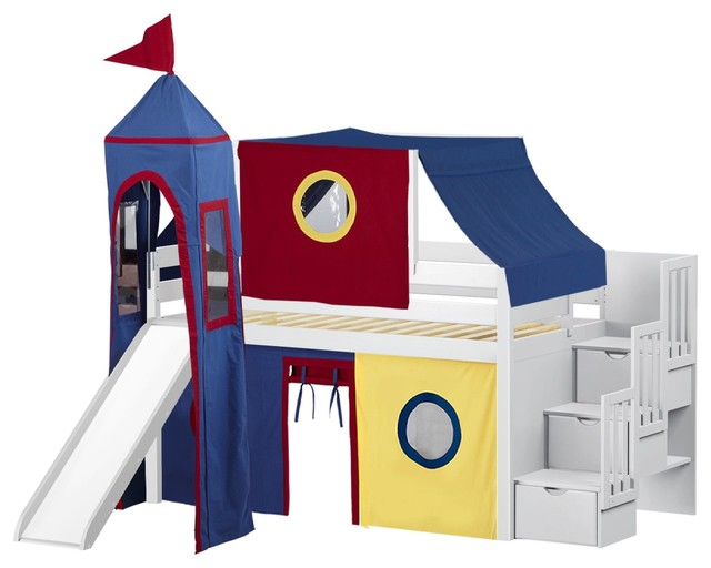 Jackpot Castle Twin Low Loft White Stairway Bed, Red And Blue Tent And Slide.
