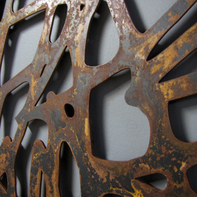 Rusted steel wall art contemporary