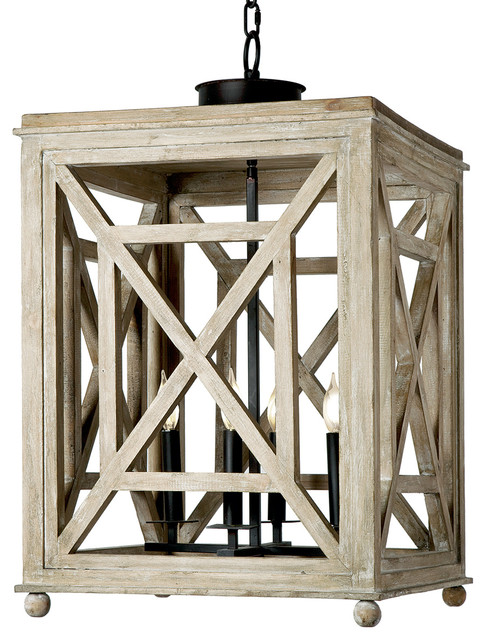Cedros Coastal Beach Weathered White Wood Lantern Pendant.