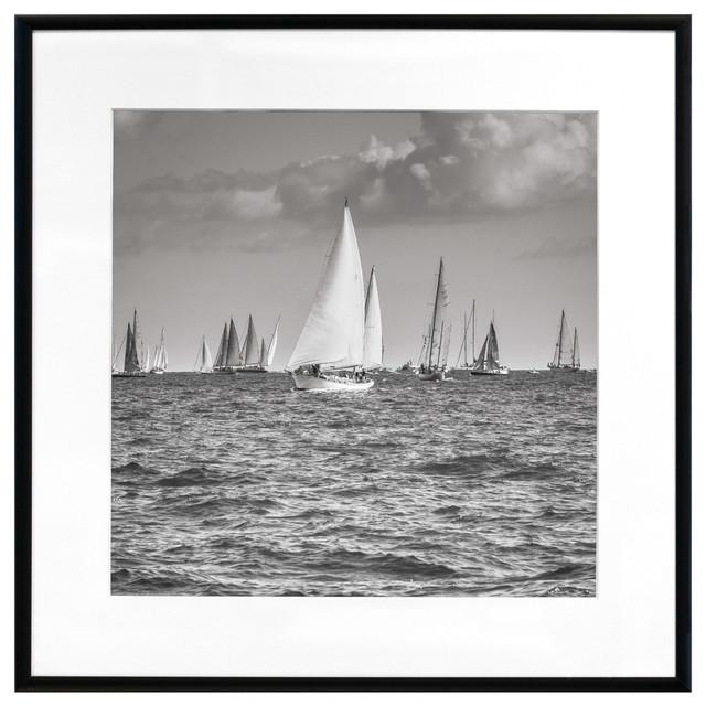 """sailing Ships, St. Tropez"" Framed Art Print, 24""x24""."