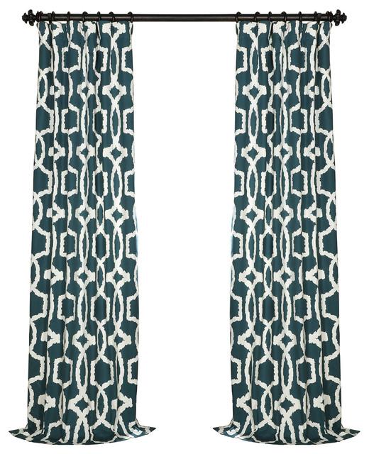 Lyons Blue Printed Cotton Twill Curtain Single Panel, 50x96.