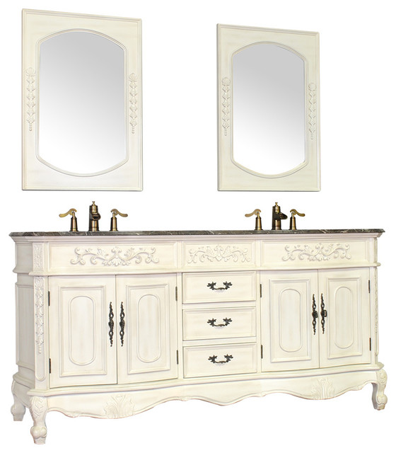 Torino collection 56 antique double bathroom vanity with for Bathroom design outlet
