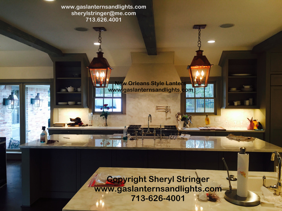 Sheryl's Electric New Orleans Style Lanterns in Kitchen