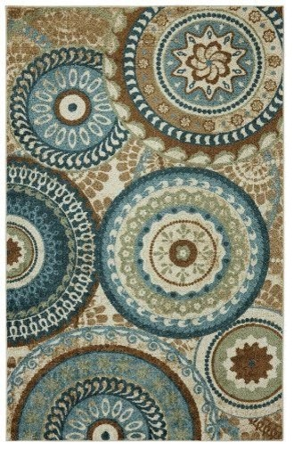 Perfect Forest Area Rug, Teal And Brown, 5u0027x8u0027 Contemporary Area