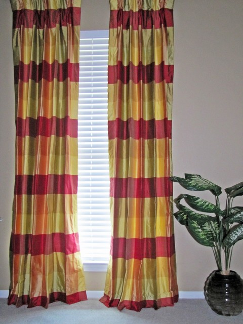 Plaid Silk Drapes Traditional Curtains New Orleans