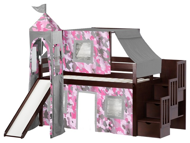 Jackpot Princess Twin Low Loft Cherry Stairway Bed, Pink Camo Tent And Slide.