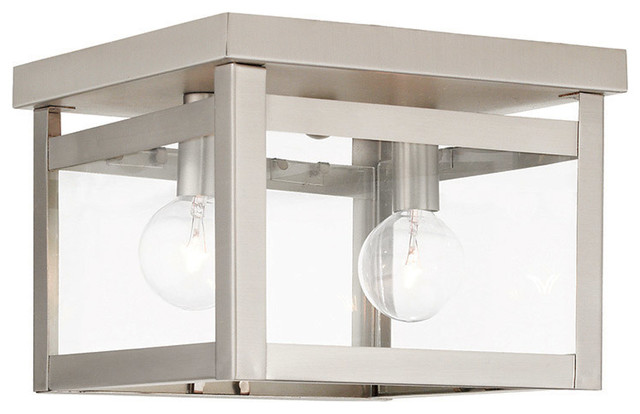 Livex Lighting 2-Light Brushed Nickel Ceiling Mount.