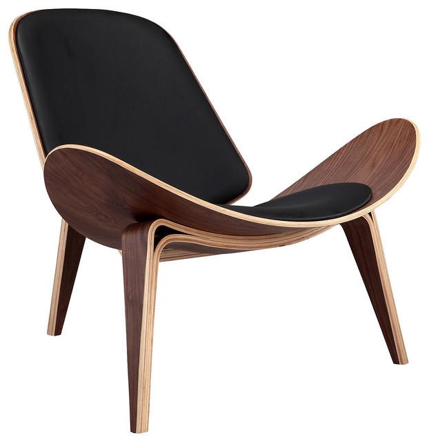 Kardiel Tripod Plywood Modern Lounge Chair, Black Italian Leather, Walnut  armchairs-and-
