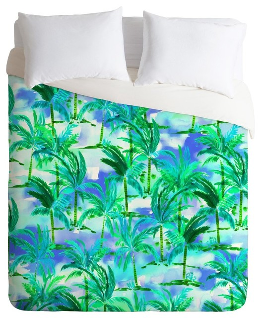 Amy Sia Palm Tree Blue Green Duvet Cover King Duvet