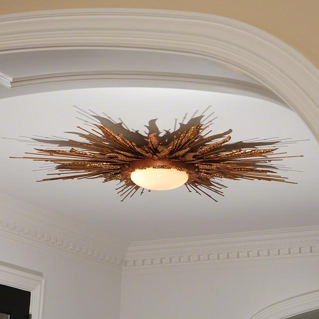 Modern Gold Sunburst Light Fixture Flame Ceiling Chandelier Flush