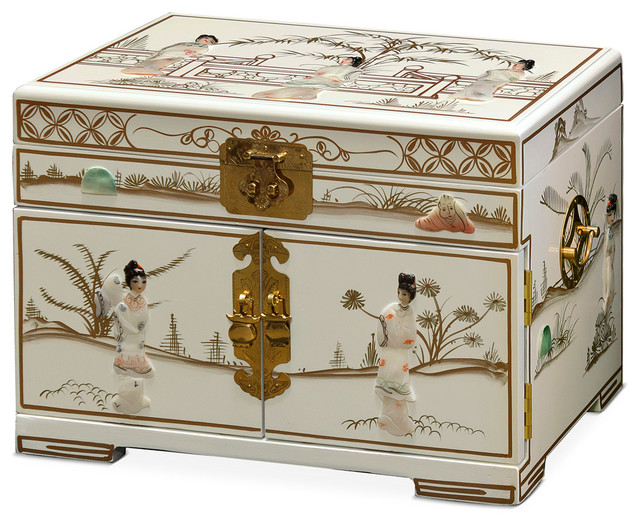 China Furniture and Arts - Jewelry Box With Mother of Pearl Maidens on Black Lacquer & Reviews ...