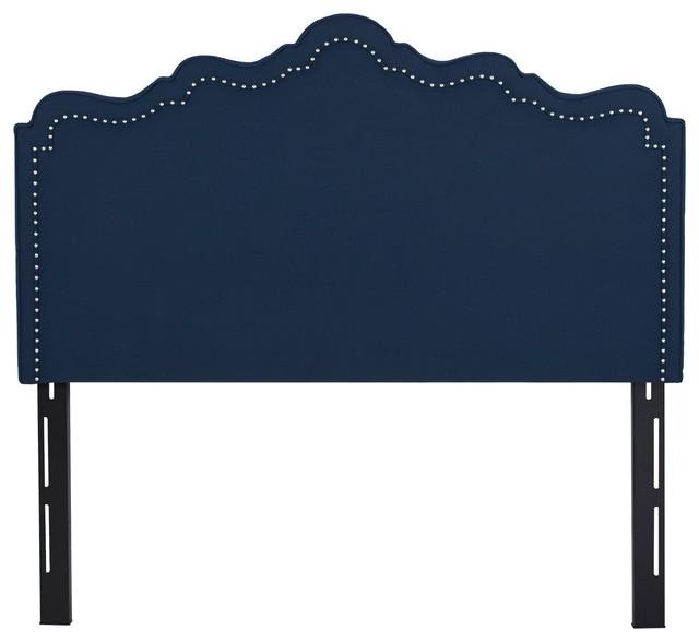 Arla Upholstered Headboard, Navy Blue, Queen.