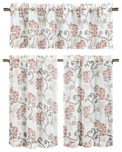 Sheer Window Curtain Set, Floral Vine Design, 2 Tiers, 1 Valance.