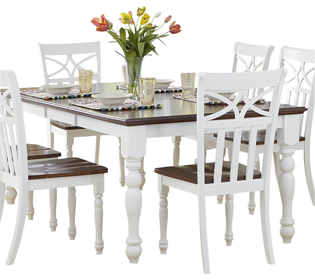 Homelegance Sanibel Extension Dining Table In White And Warm Cherry Traditional Tables
