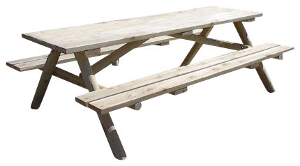 Rustic white cedar log picnic table with attached benches rustic white cedar log picnic table with attached benches 8 watchthetrailerfo