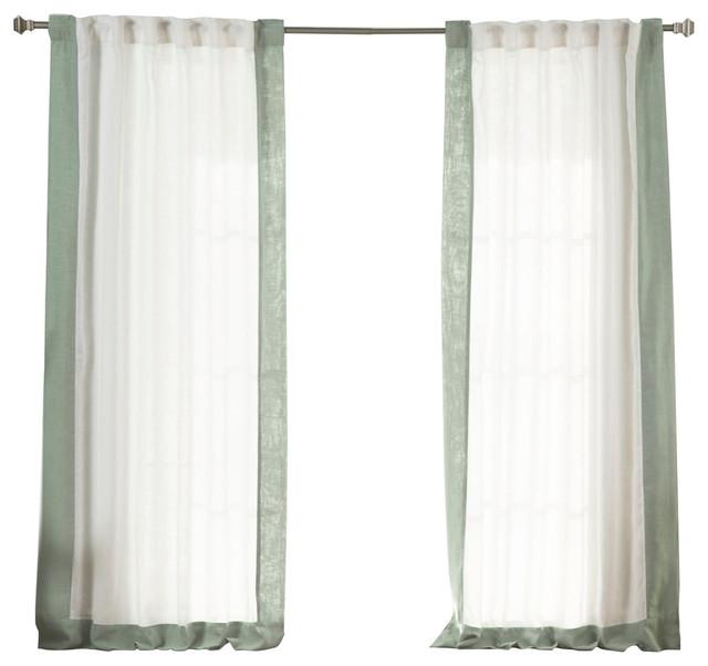 Faux Linen Blend Border Curtains, White/Spruce