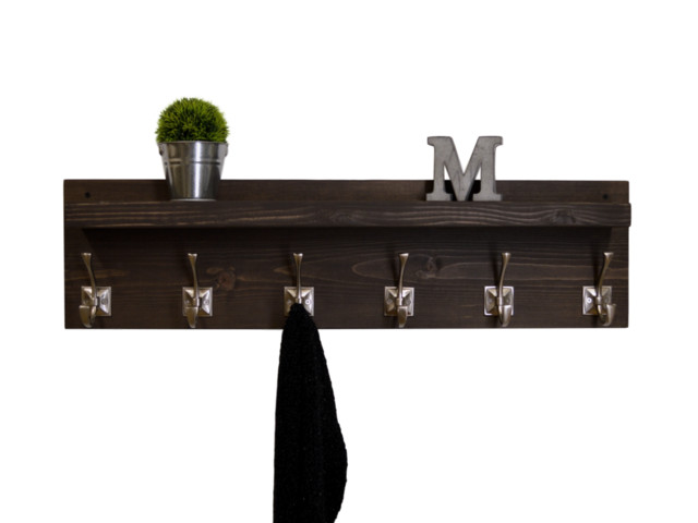 "Rustic Floating Shelf Coat Rack, Espresso/satin Nickel Hooks, 34"" Wide 6-Hooks."