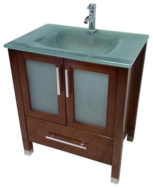 "30"" Modern Bathroom Vanity - Mahogany Finish."