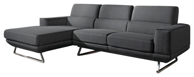 Divani Casa Becket Modern Dark Grey Fabric Sectional Sofa.