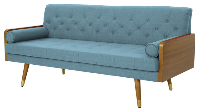 GDF Studio Aidan Mid Century Modern Tufted Fabric Sofa - Midcentury ...