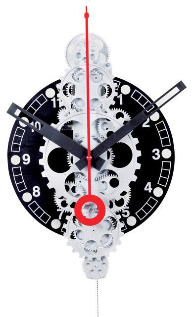 Large Moving Gear Wall Clock Black Plexiglass Dial Industrial