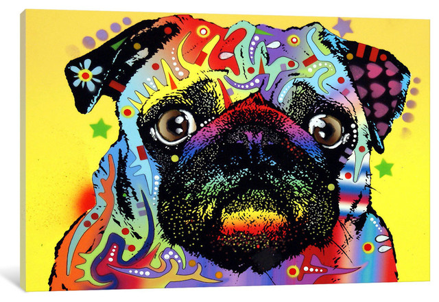 """Pug"" Wrapped Canvas Art Print, 18x12x0.75"