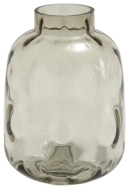 Traditional Smoked Gray Bumpy Glass Vase 8x11 Contemporary