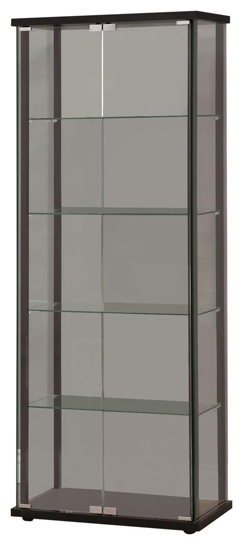 5 Shelf Glass Curio Cabinet Black Contemporary