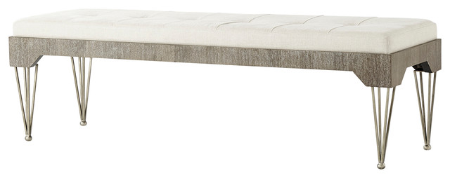 Tilly Tufted Seat Cerused Oak Rectangular Ottoman. -2