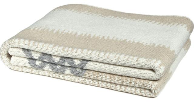 Feathered Stripe Eco Throw, Flax/aluminum.