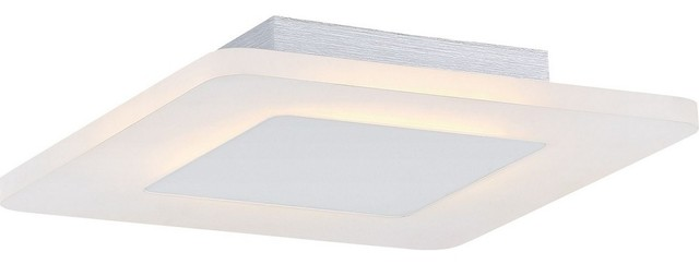"Platinum Aglow 11"" 9w 1 Led Small Semi-Flush White Lustre."