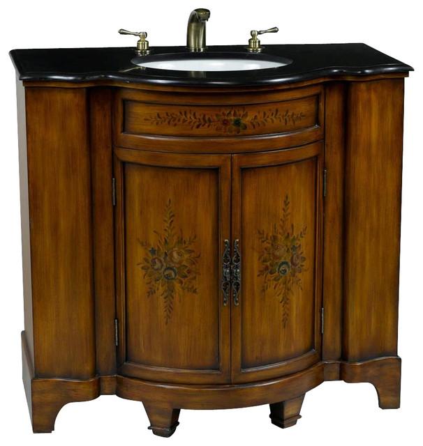 Brown Vanity Sink With Floral Design And Black Granite